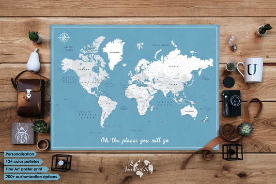 Travel map poster world map poster with pins push pin gumiabroncs Gallery