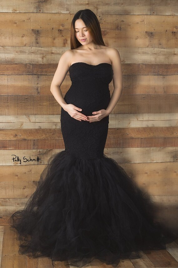 Fiona black maternity dress Lace maternity gown Tulle