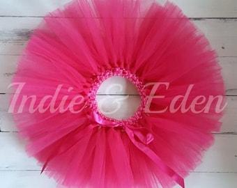 Bright Pink Tutu Hot Pink for girls birthday photo prop cake smash baby toddler skirt