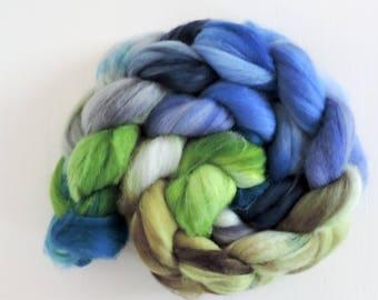 merino nylon,North Wind, superwash sock blend, top, handpainted fiber for spinning,ca.3,5oz