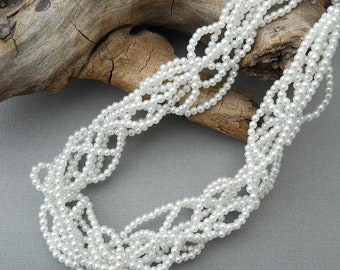 Bridal necklace, wedding necklace, Multi strand necklace, Christmas, freeform, white, pearls, statement, twisted, woven: Tangled Pearls