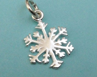 Sterling Silver Snowflake Charms Pendants, Select 1 3 5 10, 925 Bright SNOW FLAKE, 19x15mm