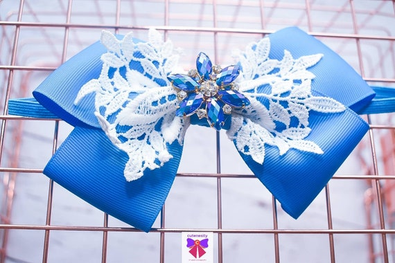 White and Blue Layered Bow with rhinestone - Baby / Toddler / Girls / Kids Headband / Hairband / Hair bow / Barette / Hairclip
