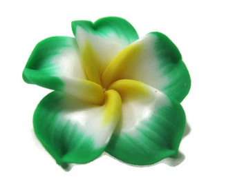 21mm Green Polymer Clay Plumeria Flower Beads set of 4 (P17)