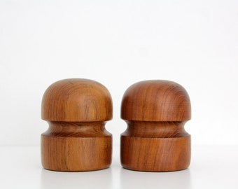 Vintage teak wood salt and pepper shakers