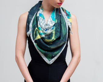 Square scarf, Elegant Scarf, Printed scarf, Wearable art, Text and leaf printed scarf, Unique chiffon scarf, Gift for her, Unique gift women