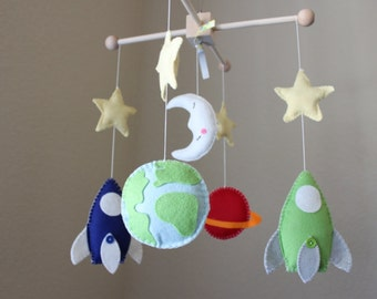 Baby Mobile - Baby Crib Mobile - Rocket Ship Nursery Mobile - Spaceship Mobile - Planets Mobile (You can pick your colors)