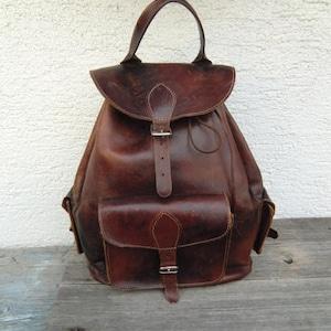 Echtleder Rucksack True Vintage Patina Leder backpack oldschool Tasche braun dunkelbraun