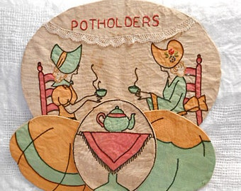 Vintage POTHOLDERS WALL HANGER 2 Tea Ladies Teapot Orange Green Hoop Skirts Bonnets Art Deco Painted & Embroidered Tan Muslin 1920s Kitchen