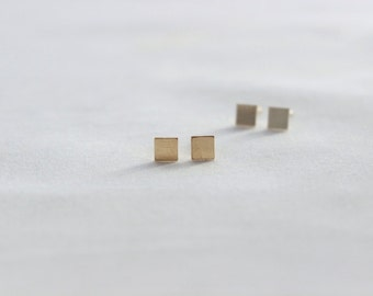 Square Studs // Geometric Earrings // 14k Gold Filled or Sterling Silver