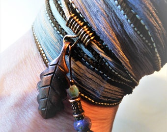 Ribbon Wrap bracelet. Silk hand dyed ribbon with copper leaf charm and mauve beads.Boho, festival, beach. Made by Little Mechanical Bird
