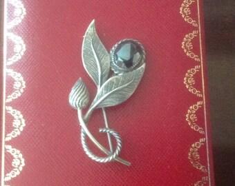 Vintage DANECRAFT Sterling Silver Hematite Flower Brooch...Circa 1970