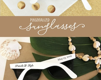 Summer Wedding Favors Outdoor Wedding Sunglasses Personalized Sunglasses Beach Theme Favors Destination Wedding Favors (EB3107) - SET of 24|