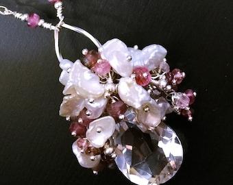 J'adore bombe cristal de roche Quartz collier, pendentif en Tourmaline rose, blanc perle Keshi collier, cadeau d'anniversaire romantique pour elle, Sterling
