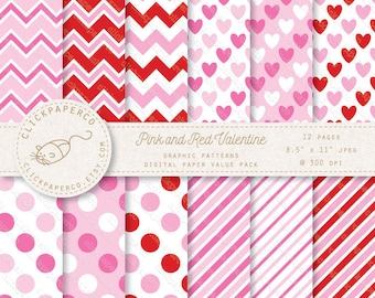 Valentine Pink and Red Digital Scrapbook Paper Hearts Dots Stripes Chevron Scrapbooking Invitations Cards Instant Download commercial use