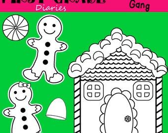 Gingerbread Gang Digital Line Art Set BUY 2 Get 1 FREE  Gingerbread Man, House, Peppermint, Gumdrop
