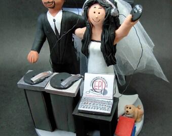 Hispanic Groom Marries American Bride Wedding Cake Topper - Custom Made to Order