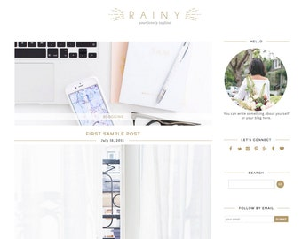 Blogger Template Premade Blog Theme Design Rainy - Instant Digital Download, Classic, White and Gray