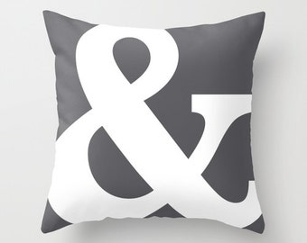 Ampersand pillow with insert  - Typography Throw pillow with insert - Modern Home Decor - Charcoal Grey - By Aldari Home