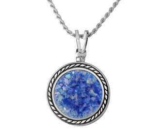 Blue Roman Glass Sterling Silver Pendant Braded Round Wire Handmade Necklace