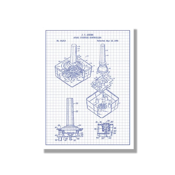 Atari joystick controller gaming patent poster blueprint like this item malvernweather Choice Image
