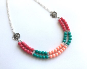 Color block necklace, fuchsia/peach/teal