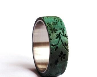 Titanium Wedding Ring, Green Maple Band, Wood Wedding Ring, Leaves Wood Wedding Ring