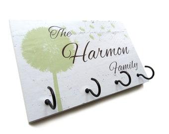 Family Name Key Hook White Wall Decor, Personalized Gift for New Home, Key Rack, Custom Wedding Gift, Wall Key holder  (34)