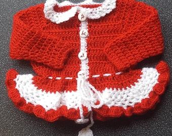 Hand made crochet Christmas cardigan
