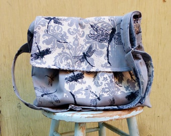 Grey Medium Messenger Bag - Dragonflies - Adjustable Strap - Pockets - Key Fob