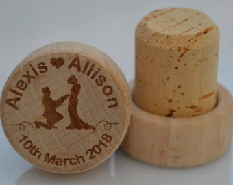 Personalized Wine Stoppers, Custom Wine Stopper, Engraved Wood Wine Stoppers,Customized Wine Cork, Wedding Party, Wedding Favor, Model 2