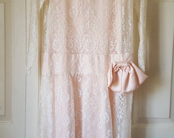 Vintage Jessica McClintock Lace Dress Satin Slip Size 4 White and Pink, 20s inspired 80s, Downton Abbey, Great Gatsby, Made in USA