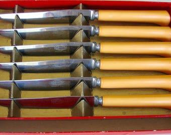 1930s Knife Set Bakelite Kitchenware Marked Royal Brand Knives