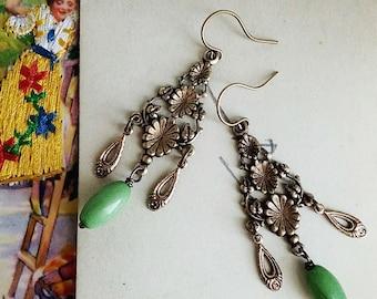 Green Beaded Chandelier Earrings, Vintage Style Brass and Green Dangle Earrings, Boho Jewelry for Women