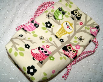 Drawstring Knitting Bag - Yarn and Knitting Needles - Storage Bag for Yarn Project - Wine Gift Bag - Owls - Flat Bottom Bag - Travel Tote