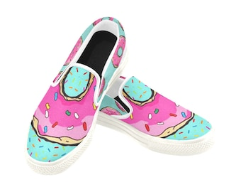 White Pink Donuts Shoes, Donut, Gucci Shoes, Gucci, Vintage Gucci, Donut shoes, Frida kahlo, off white, fake gucci, pink donut, donut party