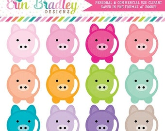 80% OFF SALE Pig Clipart Savings Clip Art Graphics Personal & Commercial Use