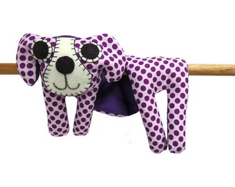 Flat Dog, Hot Cold Rice Bag, Microwave Neck Wrap, Rice Heating Pad, Hot Cold Therapy Pack, Purple Spotted Dog