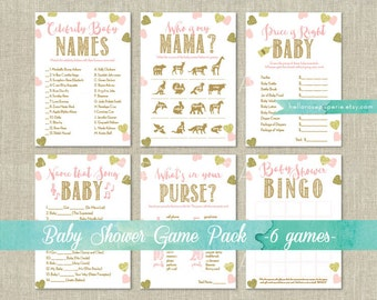 Pink and Gold Baby Shower Games Package Printable . 6 Games . Pink and Gold Glitter Hearts . Games Instant Download . Pink Baby Shower