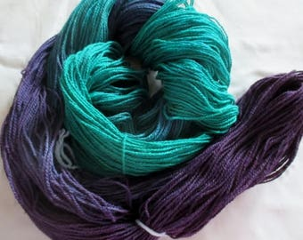 Handpainted Yarn - 4/2 Soft Cotton Yarn  EMERALD ISLE