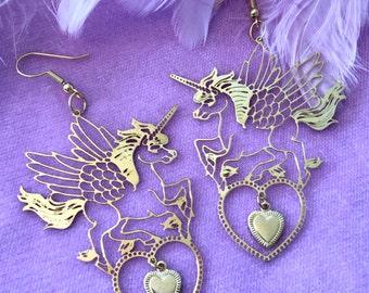 Unicorn Pegasus Gold Earrings
