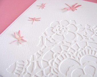 Watercoloured Dragonflies on Lace on Creamy Ivory Card / Peach Palette, Pink / Can be VERTICAL or HORIZONTAL / Ready to Ship