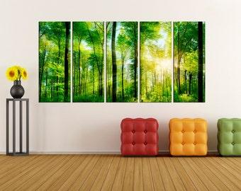 green forest Canvas Print modern art, modern canvas art,  wall art canvas, wall art print, wall decor art print, wall decoration,  bir49