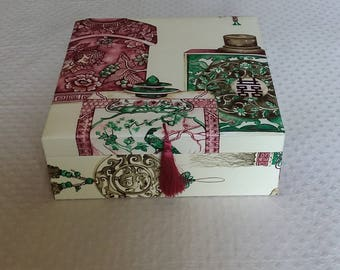 Scarf box, Box for Hermès scarves, Box for silk scarves,  Decorative Box, fabric edited by Pierre Frey, Treasure Box, Chinoiserie
