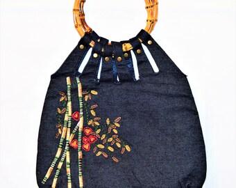 Vintage Embroidered Indigo Denim Bamboo Handled Handbag Bags And Purses Boho Style ChooseFlavor