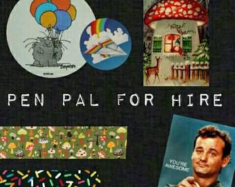Pen pal for hire. Handwritten letter. Letter subscription.