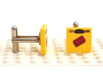 Brick Bag cufflinks. Cufflinks made with LEGO(R) bricks. Cuff links Cufflink Wedding gift