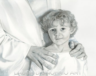 """Jesus and a little child, """"Child of Light,"""" Watercolor giclee print, Christian Artwork by Laura D'Onofrio"""