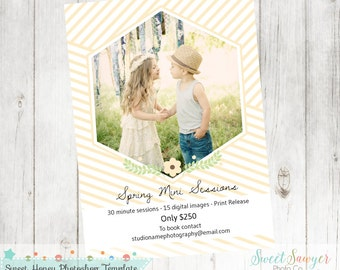 INSTANT DOWNLOAD - Spring Mini Session Template, Marketing Board, Photoshop Template, 5x7 template