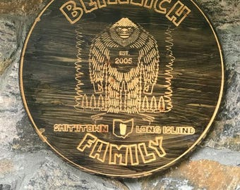 """Personalized Custom Carved Wood Sign - 18-24"""" - Personalized Circle Sign - Personalized Signs - Round - BIGFOOT- Sasquatch"""